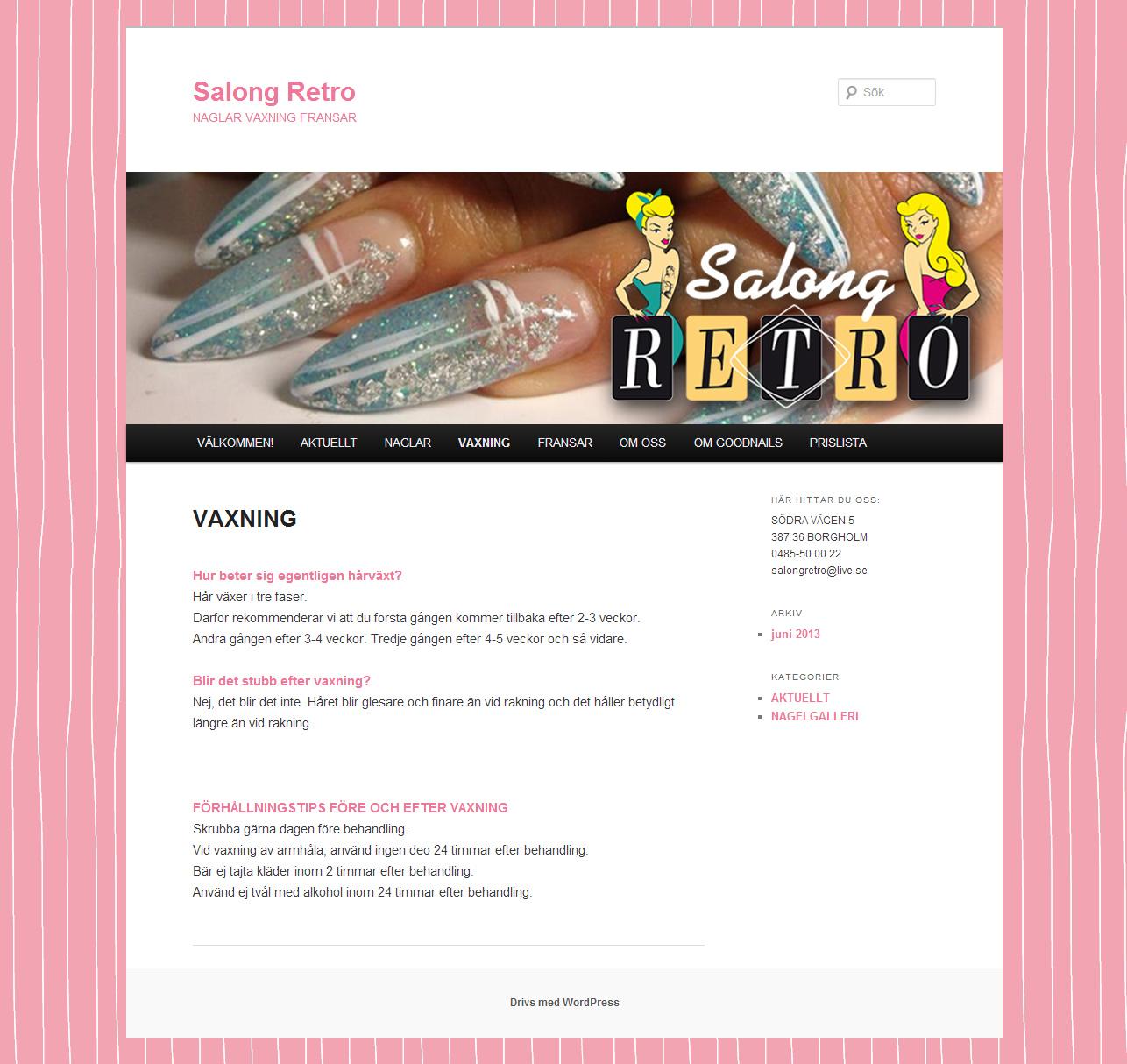 Salong Retro hemsida